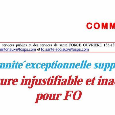 Réaction FO contre la suppression de l'indémnité exceptionnelle de compensation de la CSG