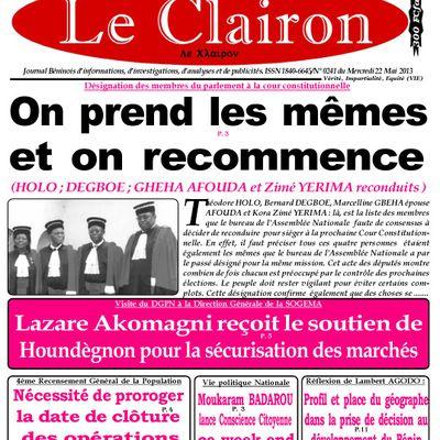 Une du Journal Le Clairon du Mercredi 22 Mai 2013