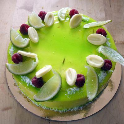 entremets coco citron vert framboise (recette atelier des chefs)