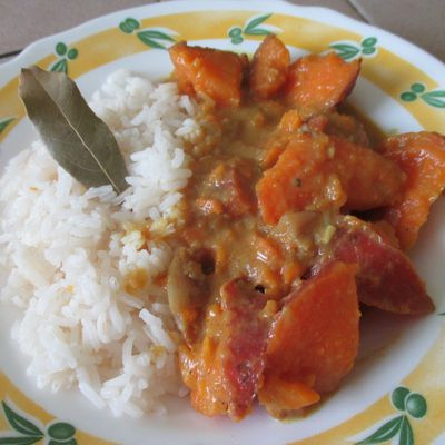 Curry de patate douce au lait de coco