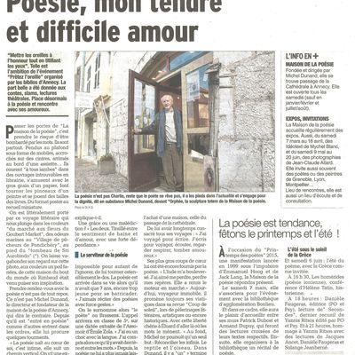 Poésie, mon tendre et difficile amour - Article du Dauphiné Libéré du 22 février 2015