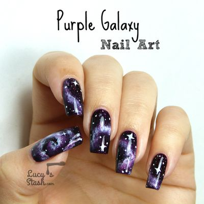 Purple Galaxy Nails with TUTORIAL feat. Zoya Payton