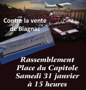 Manifestacion contra la privatisacion de la gestion de l'aeroport Tolosa-Blanhac