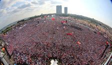 Tayyip Erdogan addressing big public rally in Instanbol