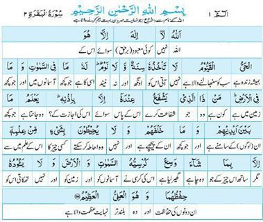 Al Quran : Ayatul Kursi with Urdu Translation