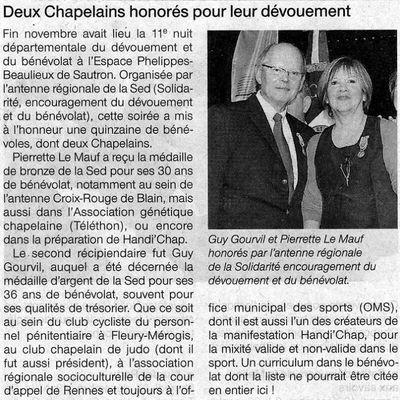 Ouest France : Deux bénévoles piliers d'Handi'Chap honorés