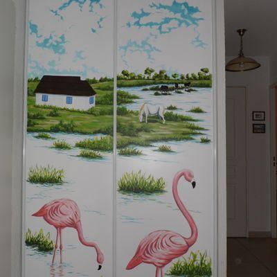 décor peint sur portes coulissantes de placard