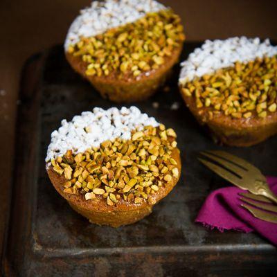 Moelleux pistaches, myrtilles