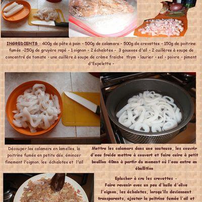 15ème Recette - Tourte aux calamars et crevettes - Mimi