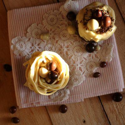 Cupcakes nids aux deux chocolats