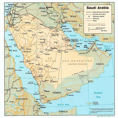 Beautiful Map of Saudi Arabia