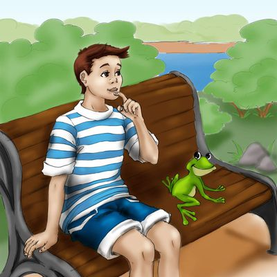 A boy and a frog