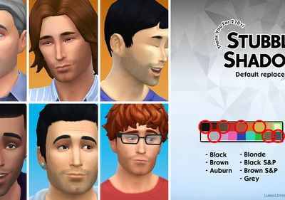 Stubbly Shadow 7 default hair replacements at LumiaLover Sims