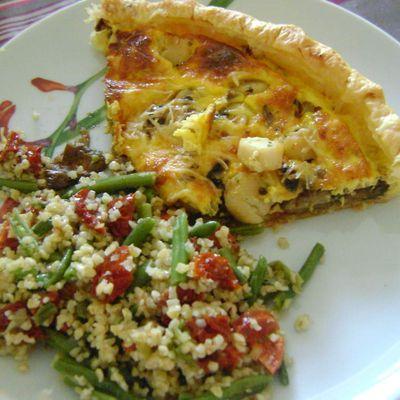 Tarte aux St Jacques cèpes et tomates séchées