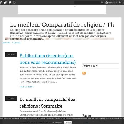 Le meilleur Comparatif de religion / The best comparative of religions