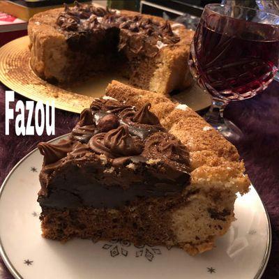 Gâteau (cake)marbré aux chocolat avec le moule magique