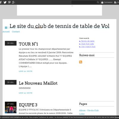 Le site du club de tennis de table de Volvic