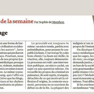 """TRIBUNE DE NOTRE FEMME LEADER SOPHIE DE MENTHON DANS """"VALEURS ACTUELLES"""""""