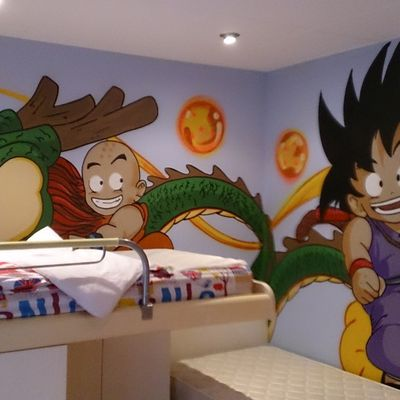 Graffiti habitacion infantil Dragon Ball