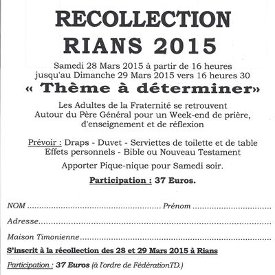 RÉCOLLECTION FRATERNITÉ ADULTES 2015