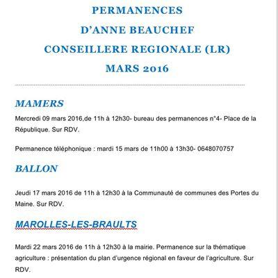 Dates de mes prochaines permanences de conseillère régionale