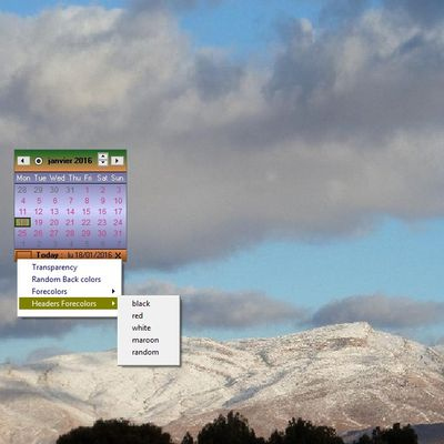 A configurable desktop calendar