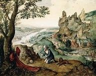 MESSIEURS LES SAVANTS DE FRANCE-CULTURE LE GRAND PEINTRE DE DINANT JOACHIM PATENIER PLUTOT QUE PATINIR (PRONONCIATION FLAMANDE)  FUT CERTES MYSTIQUE SELON LES IMPERATIFS DE SON EPOQUE MAIS IL EST SURTOUT UN DES INVENTEURS DE LA PEINTURE DES PAYSAGES