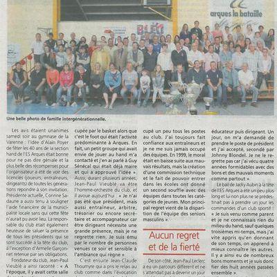 Célébration des 40 ans de l'E.S.Arques Handball