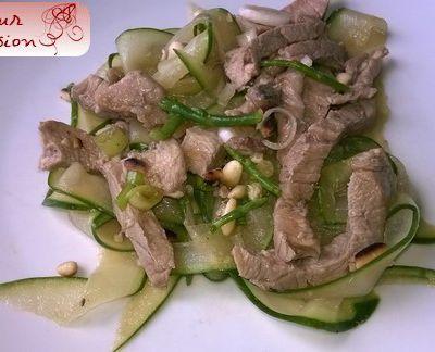 Salade de veau et concombre, anchois, salicorne et citron