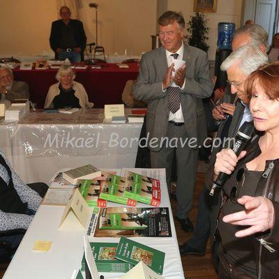"""Inauguration du Xe Salon du Livre des """"Gourmets de Lettres"""" 2015 à Toulouse, en présence de la Présidente Yanne Rebeschini det l'Adjoint au Maire Francis Grass, 10 octobre 2015"""