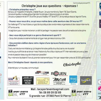 TAC Sport Events- Communiqué presse N°5 - Christophe joue aux questions - réponses !
