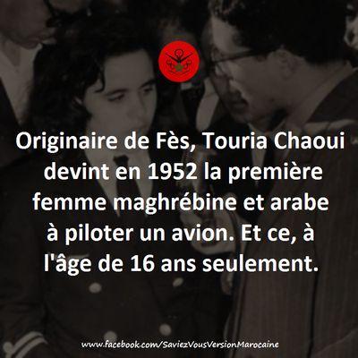 Touria Chaoui, première femme marocaine pilote.