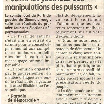 Elections départementales - Communiqué de presse du comité du Giennois