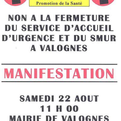 manifestation samedi 22 août 2015 à Valognes contre la fermeture des urgences