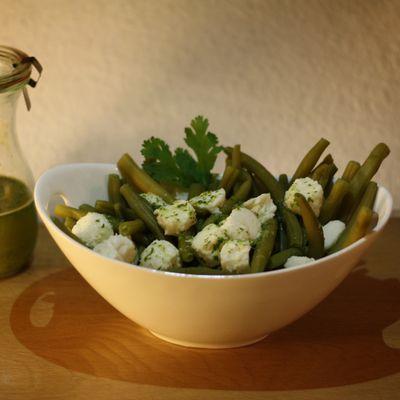 Buschbohnen Mozzarella Salat in Ingwer Pesto