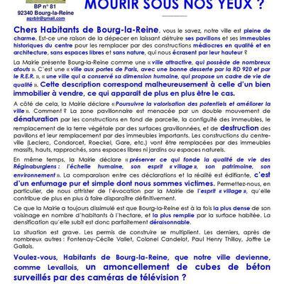 Chers Habitants de Bourg-la-Reine, voici le tract que nous vous soumettons face à la multiplication des permis de construire