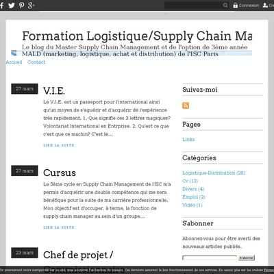 Formation Logistique/Supply Chain Management et distribution, à l'ISC Paris