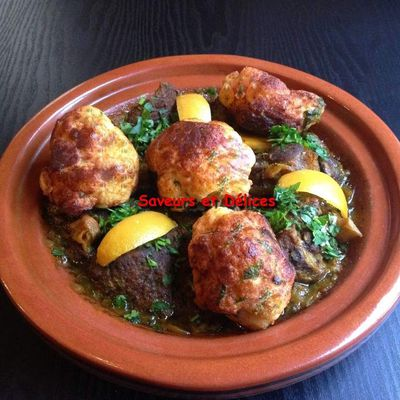 tajine marocain d'agneau au chou-fleur frit - طاجين اللحم المغربي مشرمل بالشفلور مقلي