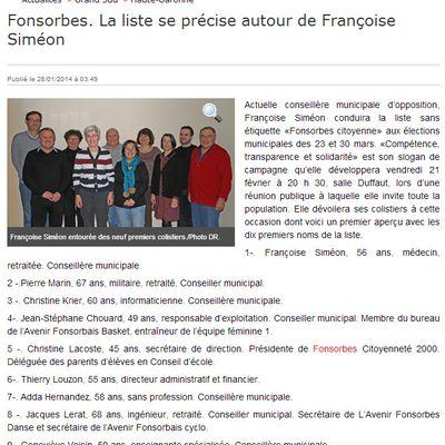 Article de LA DEPECHE 24/01/2014