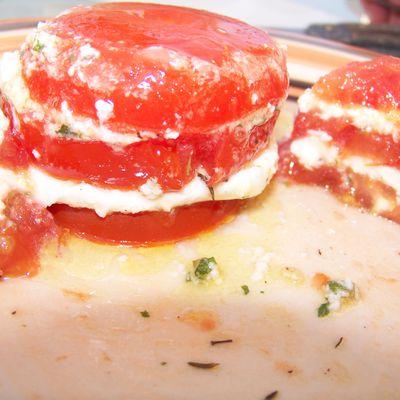 1000 feuilles tomates confites /mozzarella di buffala/pistou