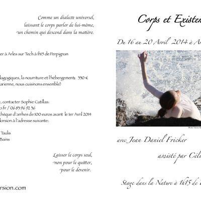 CORPS ET EXISTENCE, stage à Arles sur Tech, du 16 au 20 avril