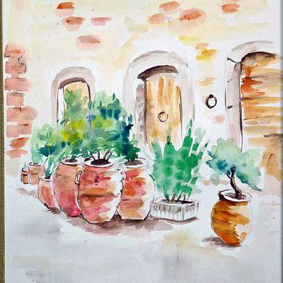 aquarelle paysage -les jarres- loisirs et culture de la peinture