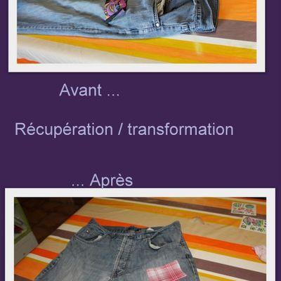Récupération . transformation d'un Jean's