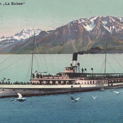 Tour du Leman en cartes postales anciennes. Les Bateaux-salons.