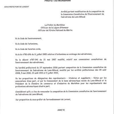 Arrêté de composition de la CCE Lann-Bihoué