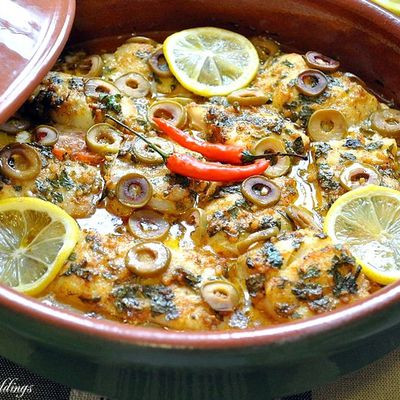 Moroccan Fish tagine with green olives