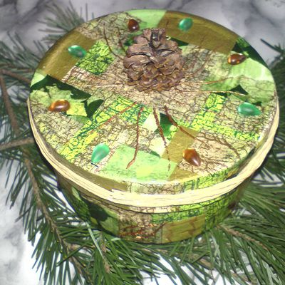 Boite à bijoux, thème nature d'hiver