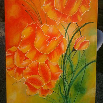 Tableau fleurs orange bis