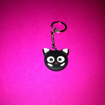 Porte clefs Tête de chat en pâte fimo - Version Chococat