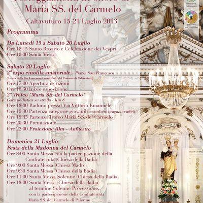 FESTEGGIAMENTI IN ONORE DI MARIA SANTISSIMA DEL CARMELO.